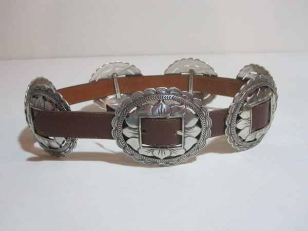 Vintage Leather Southwestern Silver Concho Belt. Wide Waist
