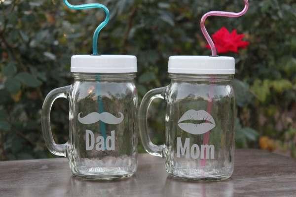 Mason Jar Sippy Cups Mom And Dad Bride Groom