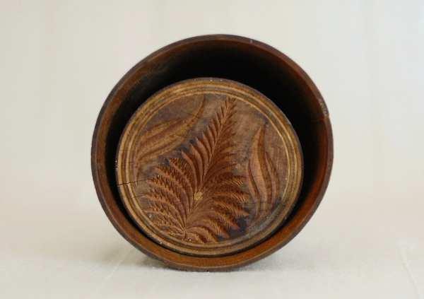 Primitive Antique Wood Butter Mold Carved Pineapple Design