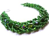 Dazzling Green Bracelet - Beaded Flat Spiral - MegansBeadedDesigns