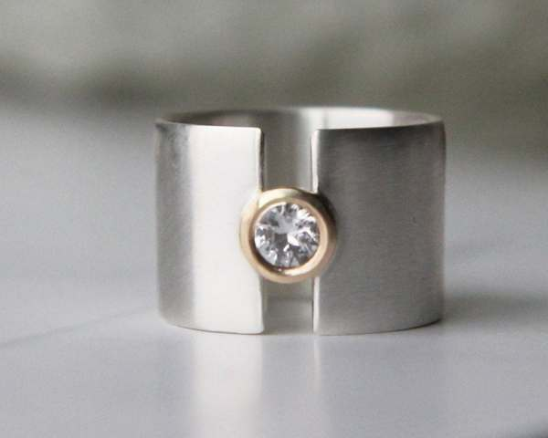 Engagement Ring White Sapphire Wide Wedding Band Silver