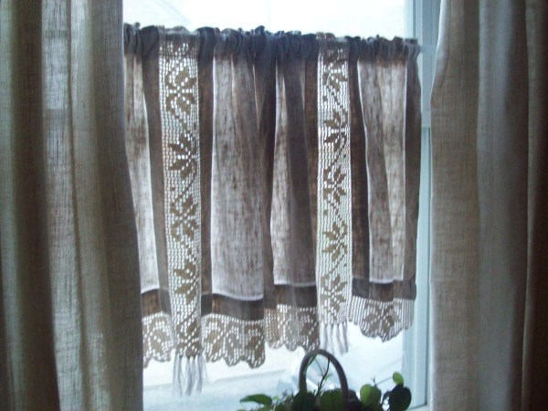 Vintage Linen Curtains Hand Crocheted Cotton Lace