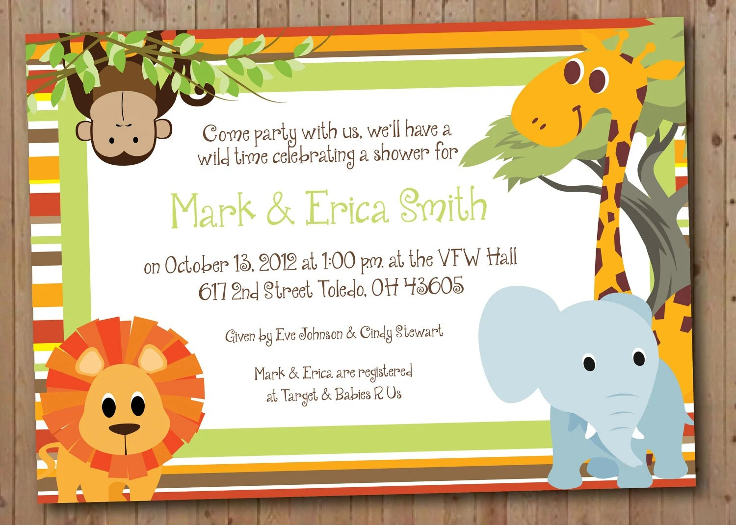 Safari Baby Shower Or Birthday Party Invitation By Ayleighdesigns
