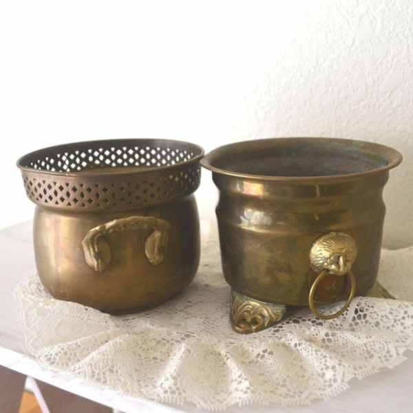 Two Brass Vintage Planter Pots. Flower Storytellersvintage