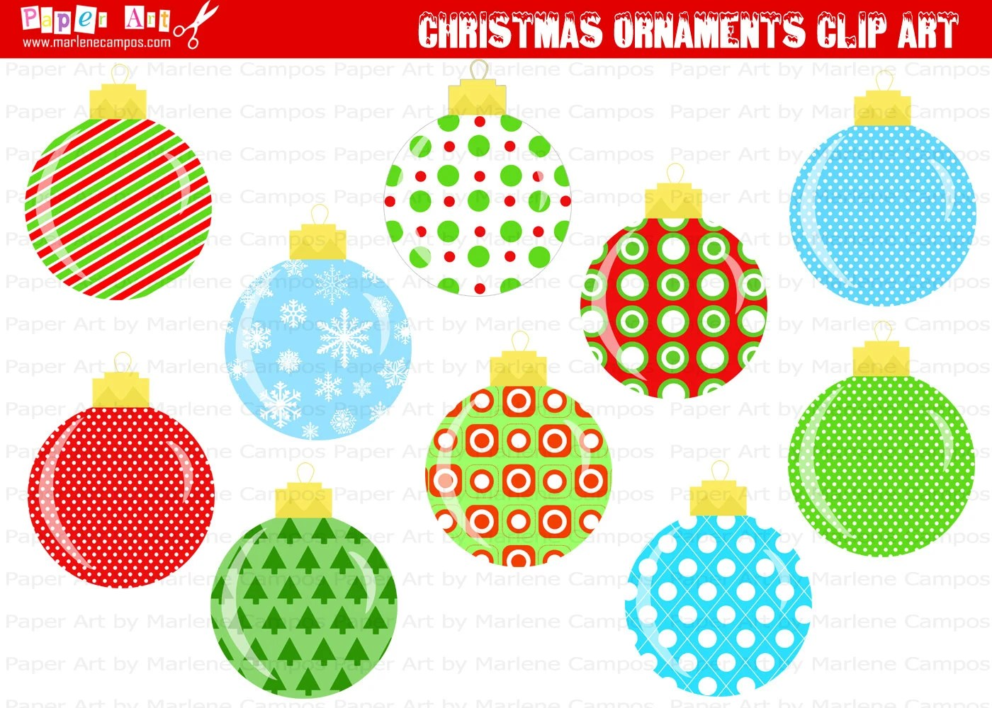 Instant Download Printable Christmas Ornaments Clip Art