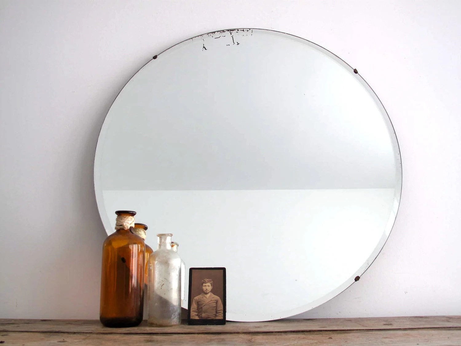Vintage Round Wall Mirror Frameless Beveled By SnapshotVintage