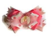 princess peach hair bow with white