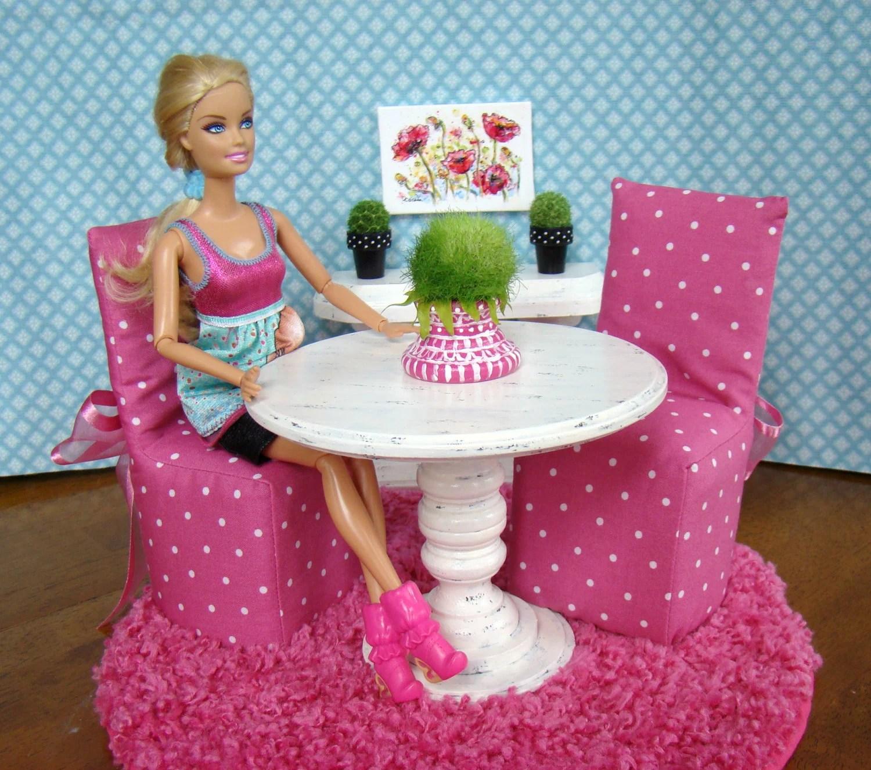 Barbie Furniture Dining Room Set With Pedestal Table 2