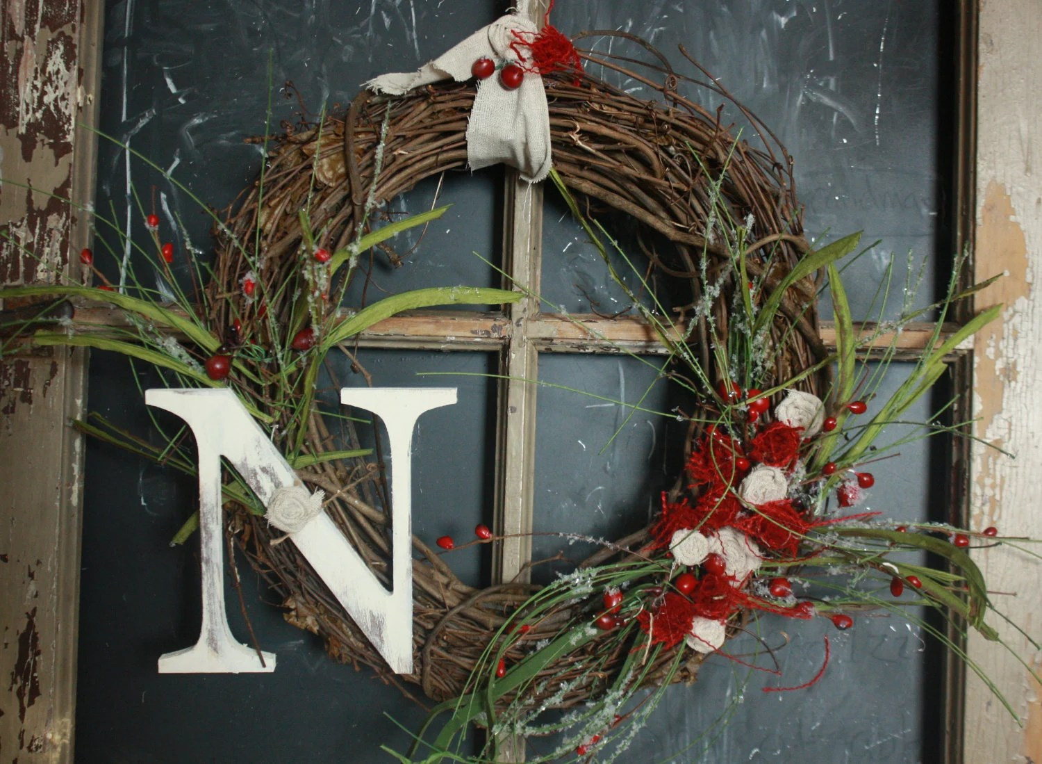 Holiday Distressed Monogram Wreath Romantic farmstyle red burlap Christmas