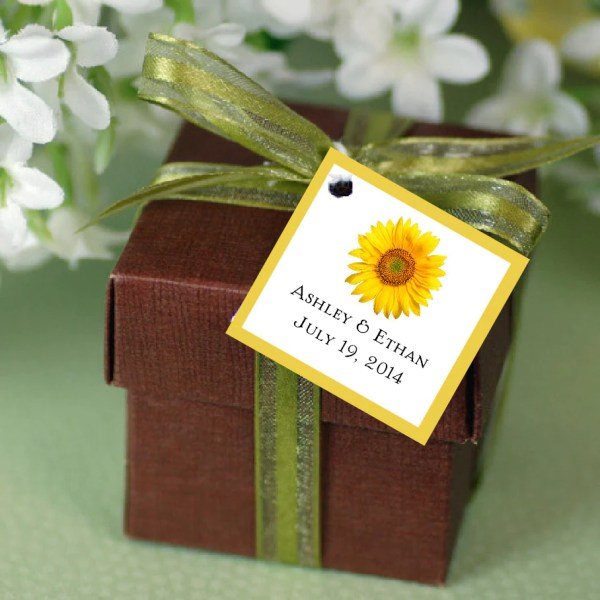 Sunflower Favor Tags. Wedding Favors
