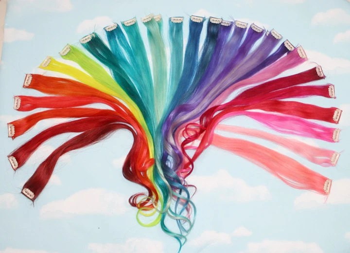 Items Similar To Rainbow Colored Human Hair Extensions