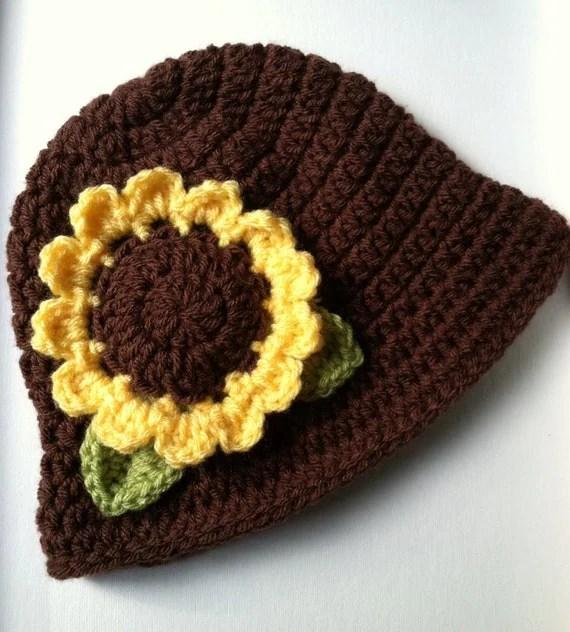 Sunflower hat, Crochet Hat with Flower, Chocolate Brown, Yellow Sunflower Hat, Photo Prop, Newborn, Little Girl, Child Hat, Autumn Hat