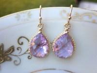 Lavender Earrings Purple Gold Teardrop Pendant ...
