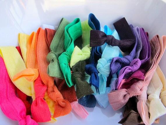 50 Elastic Hair Ties - Assorted Colors - Knotted Hair Ties - Colorful Hair ties - Ponytail Holders