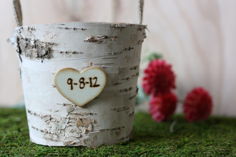 Rustic Wedding Birch Bark Flower Girl Basket Barn Wedding