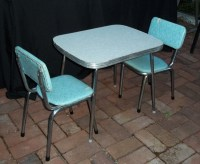 Vintage Mid Century Chrome and Vinyl Play Table and Chair set