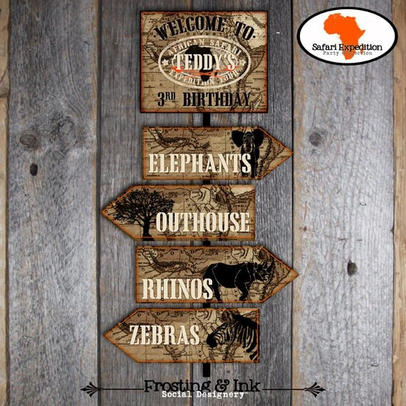 Safari Party Party Signs Welcome Sign Directional Arrow