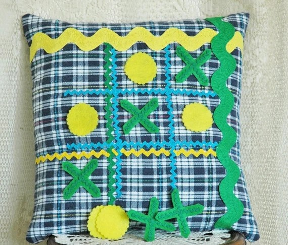 Tic Tac Toe Game Pillow 14 Inch Blue Plaid Homespun with Turquoise John Deere Green and Yellow Accents Rick Rack Felt