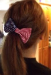 red white & blue hair bow