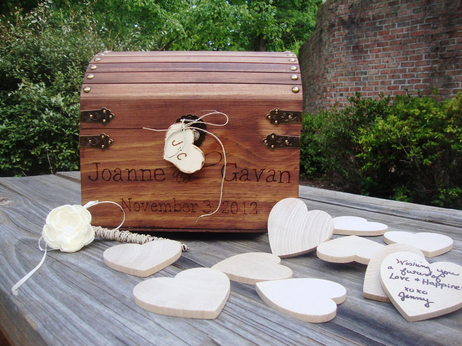 LARGE Wedding Guest Book Keepsake Box with 200 Hearts