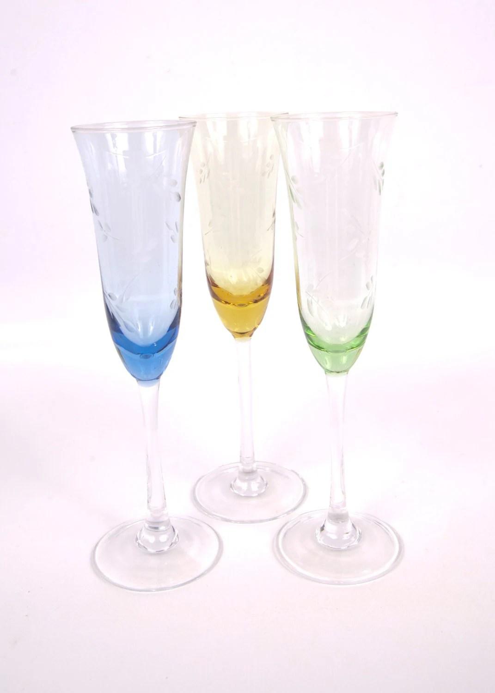 Vintage Etched Crystal Champagne Flutes Toasting Wine Glasses