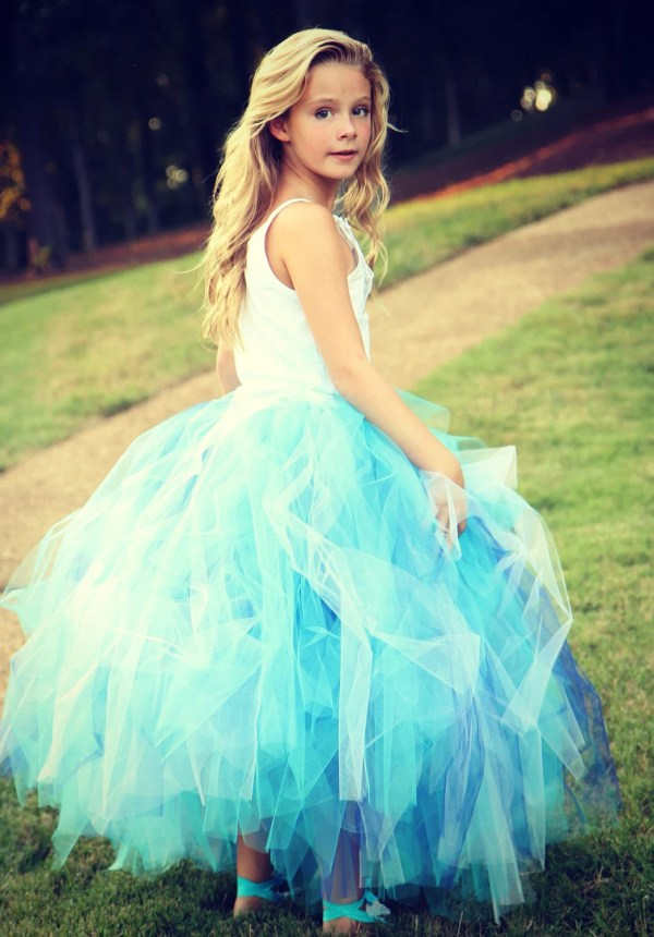 Long Tutu Skirt Aqua Blue Toddler Cinderella