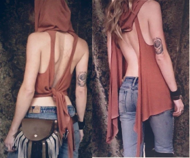 gypsy tudung. hooded cowl tunic. organic bamboo hemp blend. hand dyed color- ochre red. 'made to order'