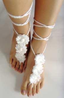 Festival Barefoot Sandals Crochet White Flowers Nude Summer