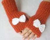 Hand  knitting gloves, orange fingerless gloves with bow cream, women accessories. 2013 trends, handmade gifts, Valentines day gifts. - BloomedFlower