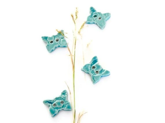 Ceramic Butterfly Buttons Turquoise Pottery Aqua Lace Ceramics - Ceraminic