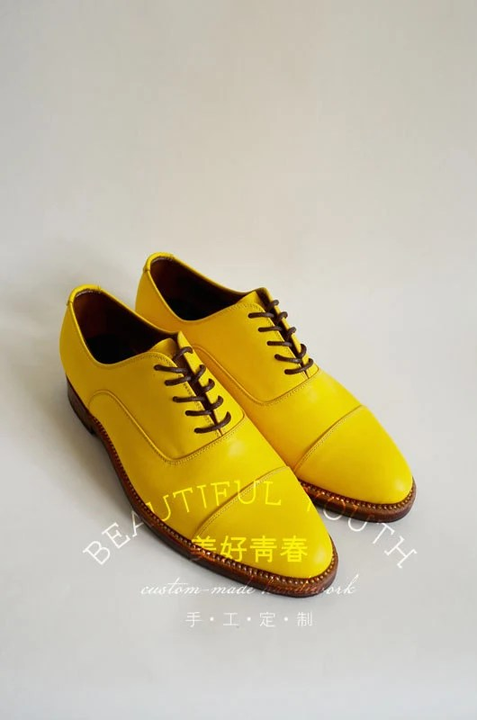 Handstitched Bright Yellow Leather Shoes/ Lace Up Shoes/ Oxford Shoes - LeatherFun