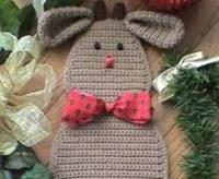 CROCHET PATTERN Reindeer Santa Christmas Door Decoration Rudy