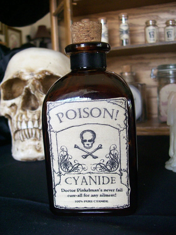 OOAK Poison Cyanide Halloween BottleDecorative Bottle