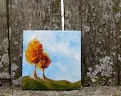 Miniature easel painting of Fall Trees No.2 - KetturahsArt