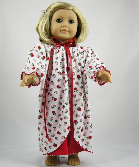American Girl Nightshirt Nightgown and Robe Apple Red Handmade