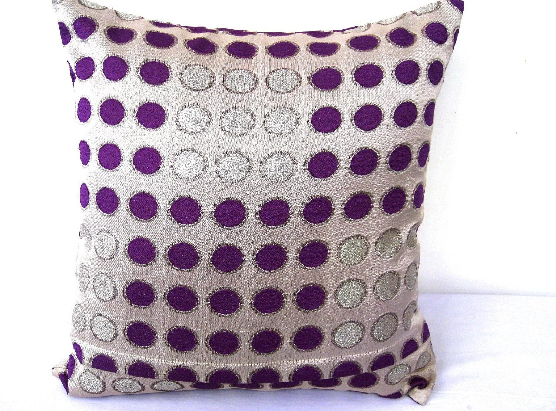 Throw Pillow Set Of 2 Combo Set Purple Silver Throw Pillows