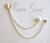 Heart Pearl and Rhinestone Ear Cuff Chain Earring by ...