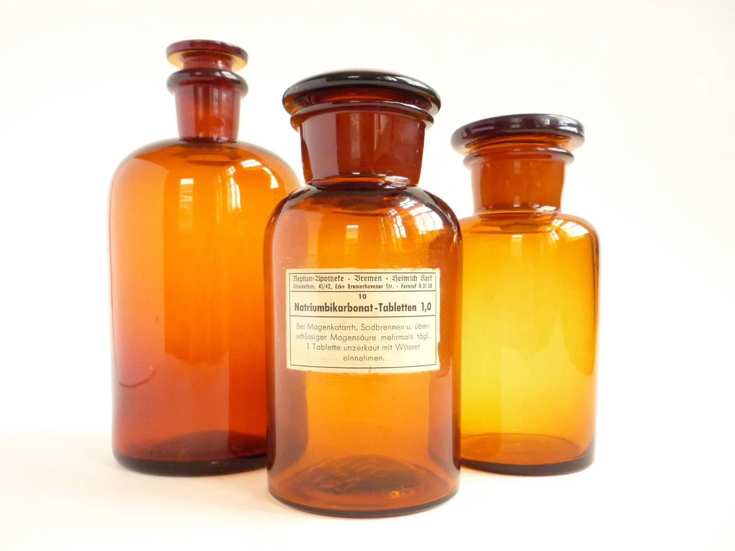 1 Vintage Apothecary Pharmacy Bottle Jar - Amber German Glass