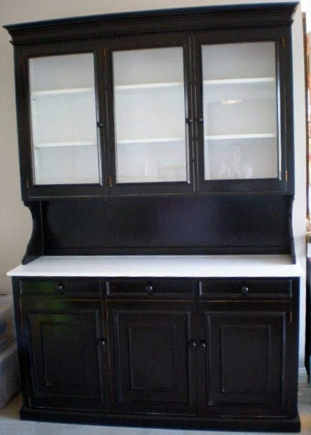 Kitchen Hutch cabinet upcycled black and white wooden modern
