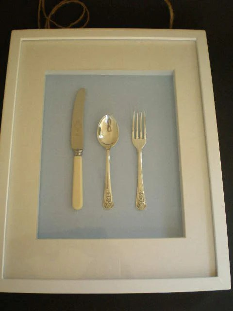 Shadow box frame upcycled spoon fork and knife blue and white