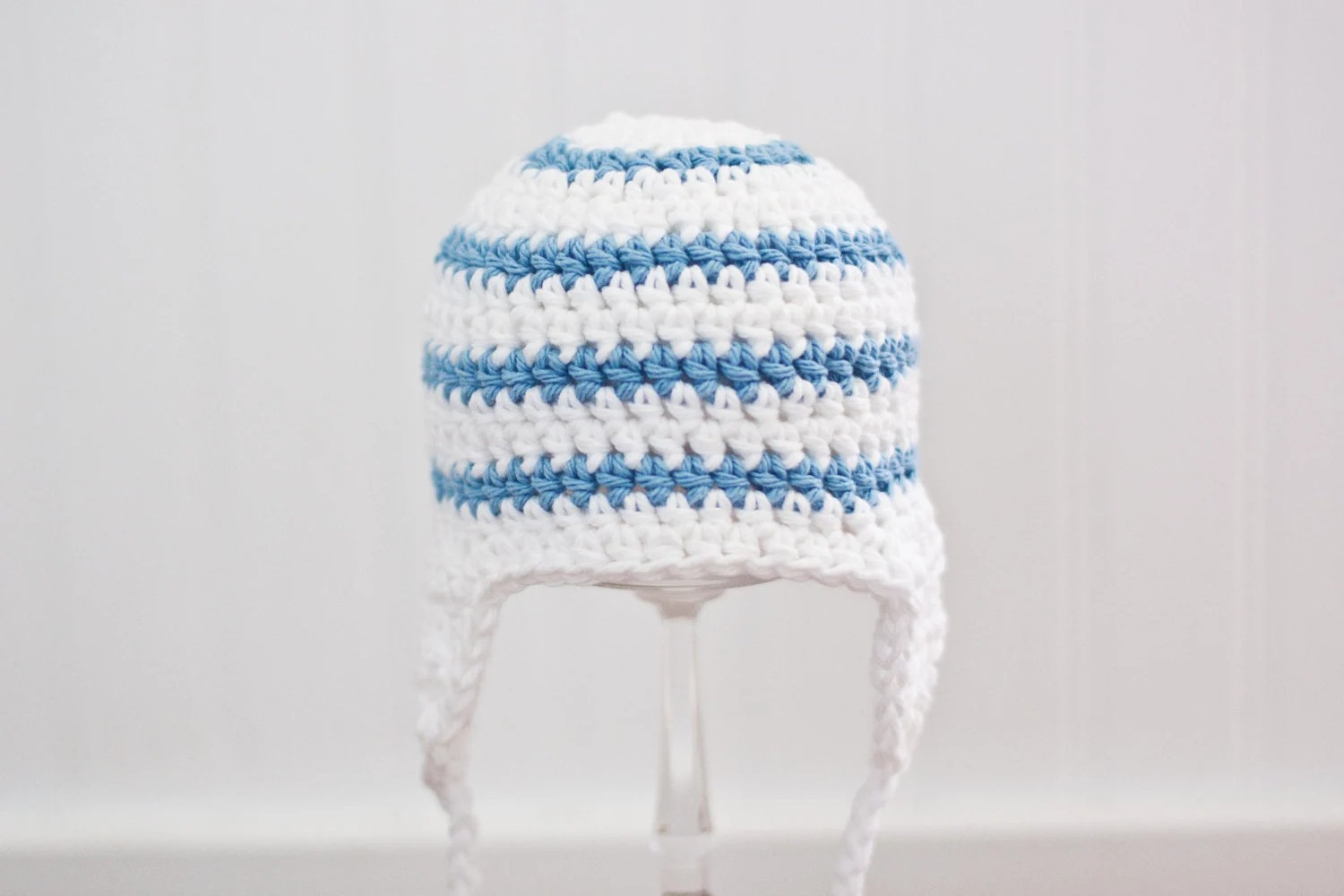 Crochet Baby Hat for Boys, Earflap Hat, Baby Boy Hat, Baby Boy Clothes, White, Light Blue, 0 to 3 Months - Children Clothing, READY TO SHIP - BBirdBoutique