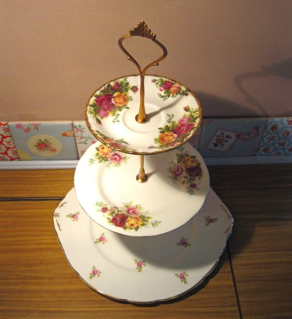 Vintage 3 Tier Cake Stand Country Roses Royal Albert