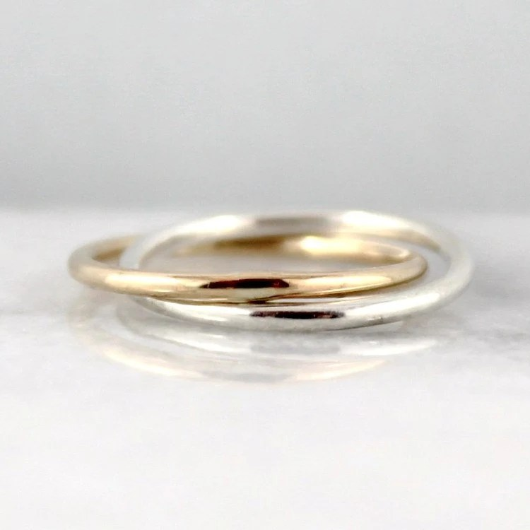 Infinity Ring Intertwined Rolling Rings Sterling Silver