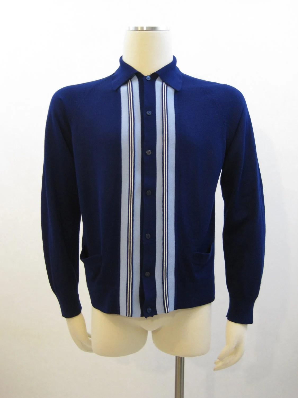 60s Sweater Vintage Mens MOD Panel Buttonup Rockabilly Shirt
