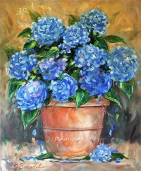 Items similar to Floral oil painting Blue Hydrangeas ...