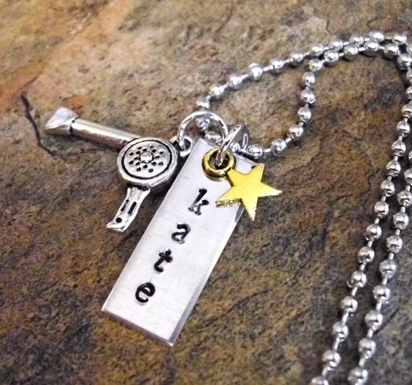 Hairdresser Jewelry Hair Dryer Charm Necklace