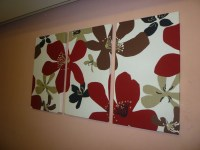 Items similar to Large Fabric Wall Art Red Black Brown ...