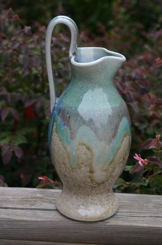 Salt Glazed Pottery Rebekah Pitcher with Copper Glaze
