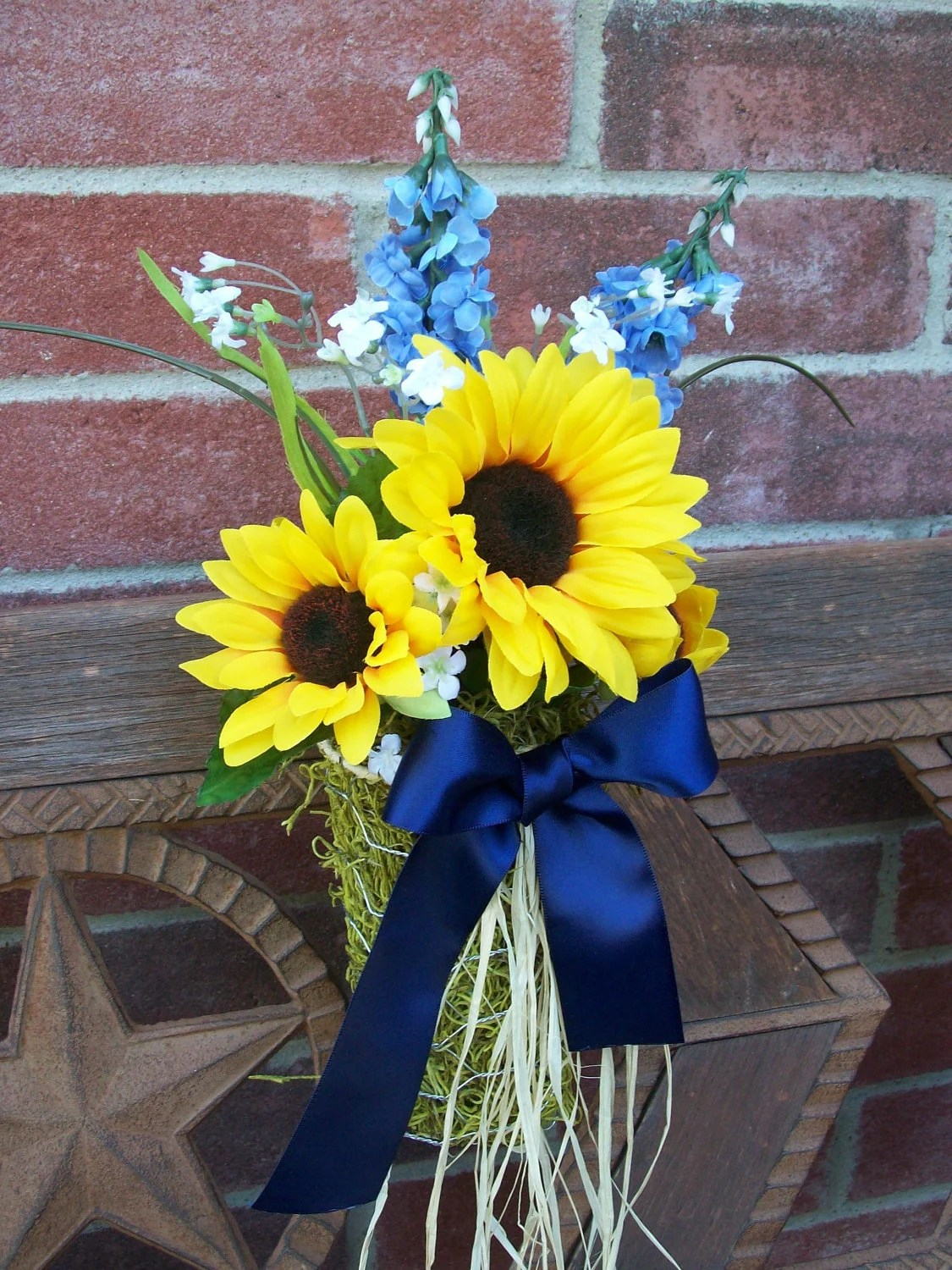 Items similar to Sunflower Wedding Pew Cones Sunflower Pew Bows Blue and Yellow Wedding