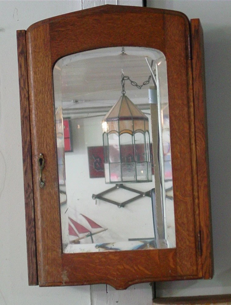 Antique Victorian Oak Medicine Cabinet with Beveled by